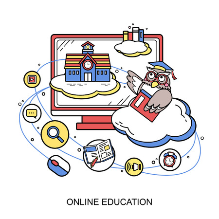 retraining: online education concept with an owl in line style