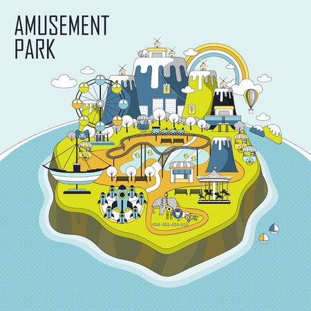 amusement: amusement park elements on an island in line style
