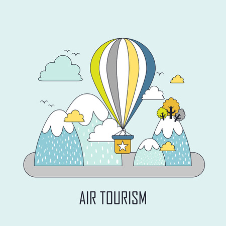air liner: air tourism concept: hot air balloon and mountains in line style Illustration