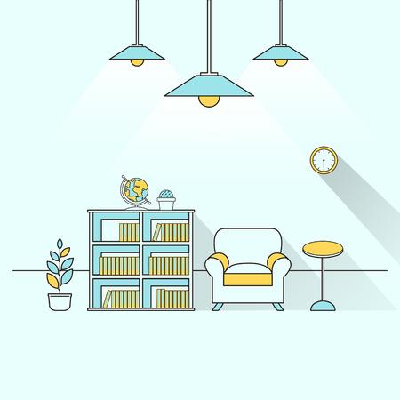 office furniture: creative furniture topic in flat line design Illustration