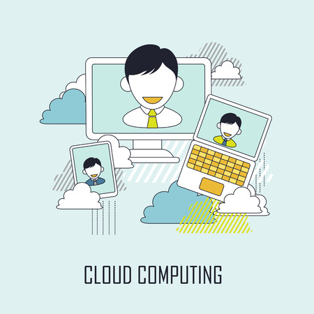 storage device: technology concept: cloud computing in line style Illustration