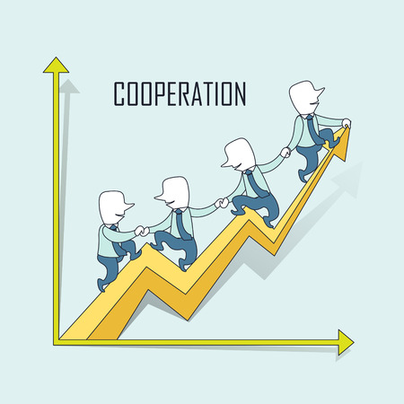 growing up: cooperation concept: businessmen riding a growing up arrow in line style