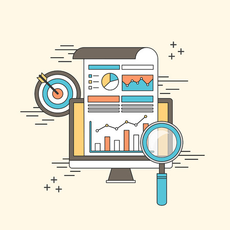 data analytic concept: magnifying glass with business chart in line style Stock Illustratie
