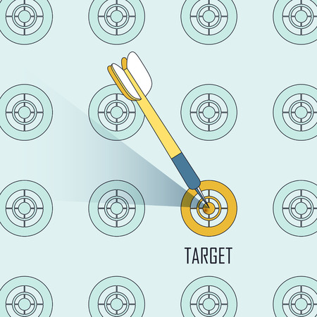 bad planning: targeting concept: a dart shooting on a target in line style