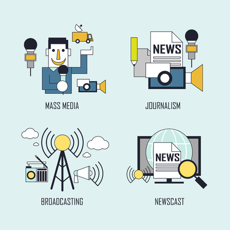 news van: media concept: mass media-journalism-broadcasting-newscast in line style Illustration