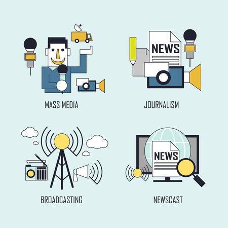 news van: media concept: mass media-journalism-broadcasting-newscast in line style Illustration