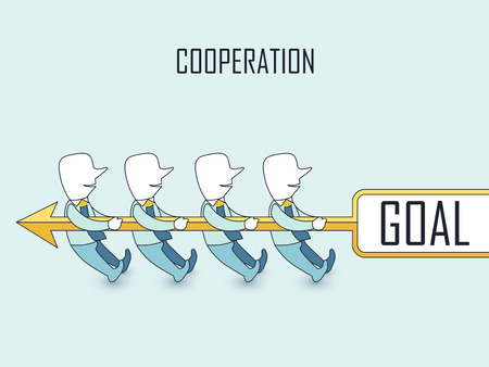 cooperation concept: businessmen doing tug of war with their goal in line style Vettoriali
