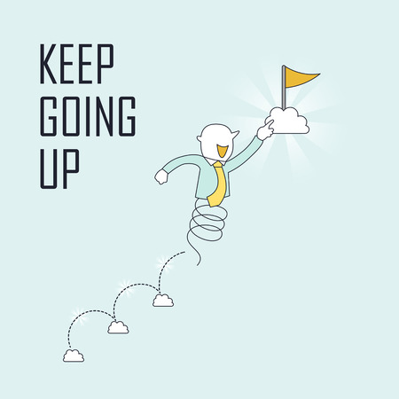 keep up: success concept: keep going up to the goal in line style