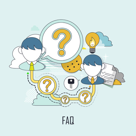 FAQ concept: customer service in flat line style Ilustrace