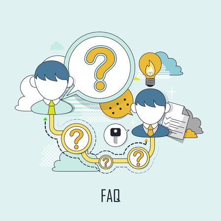 servicio al cliente: FAQ concepto: el servicio al cliente en el estilo de línea plana