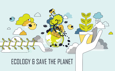 save planet: ecology concept: save the planet graphic in line style