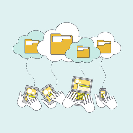link work: cloud storage concept in thin line style