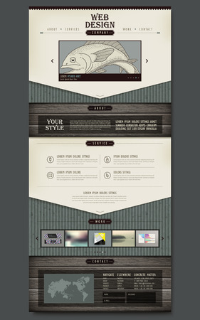 responsive design: contemporary one page website design template with wooden plate background