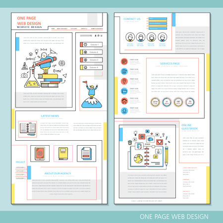 usability: learning concept one page website design template in flat style