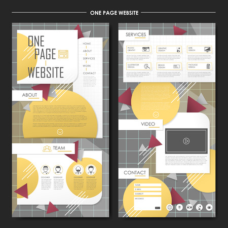 style geometric: geometric one page website design template in flat style