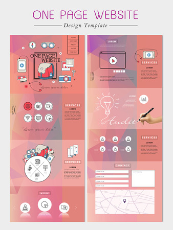 icons site search: geometric one page website design template with poly element