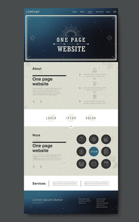 starry night: trendy one page website design template with starry night