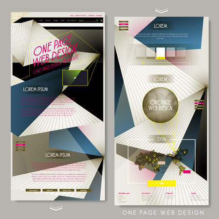 website design: geometric one page website design template in flat style