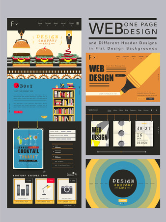 www tasty: attractive one page website design template in flat style