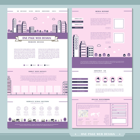 icons site search: modern one page website design template in flat style