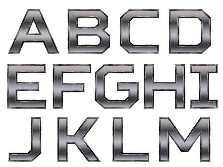 metallic alphabet set isolated on white background Vector