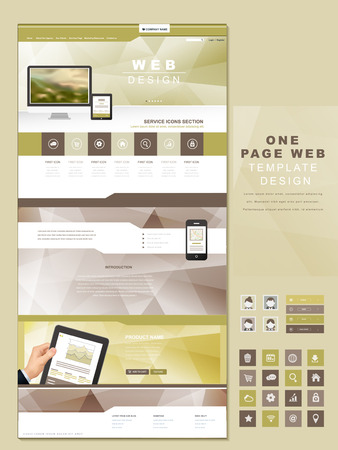 abstract concept one page website design template with blurred banner  イラスト・ベクター素材