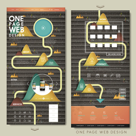 website design: creative one page website design template with paper craft mountains Illustration