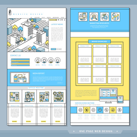 usability: lovely one page website design template in flat style
