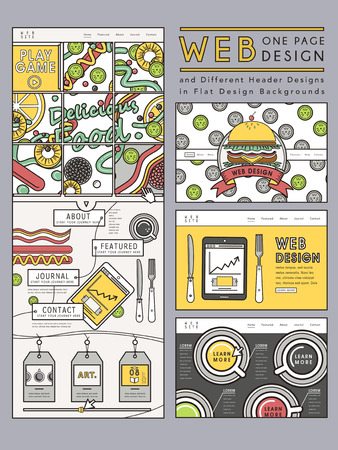 website design: creative one page website design template with delicious hamburgers Illustration