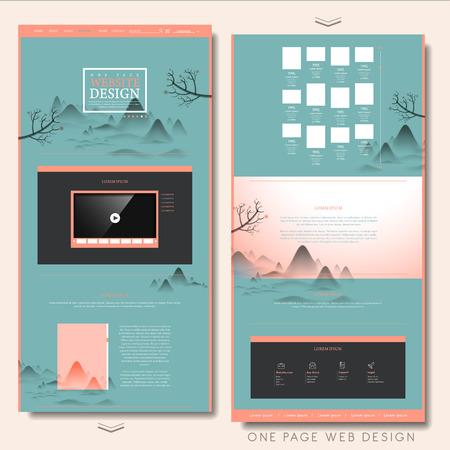 Creativa una página plantilla de diseño de sitios web en el estilo de la pintura de paisaje Foto de archivo - 41295160