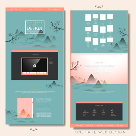 poetic: creative one page website design template in landscape painting style