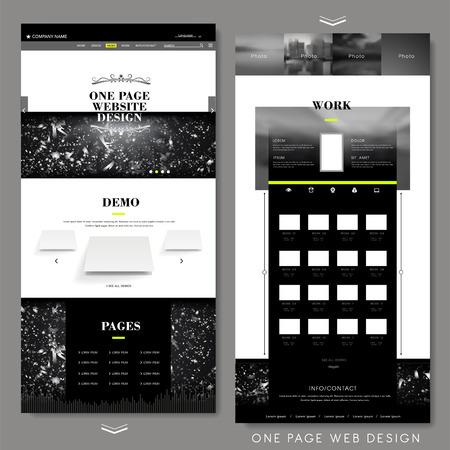 modern één pagina website ontwerp sjabloon met abstracte achtergrond Stock Illustratie