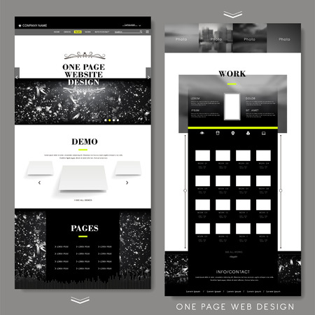website design: modern one page website design template with abstract background