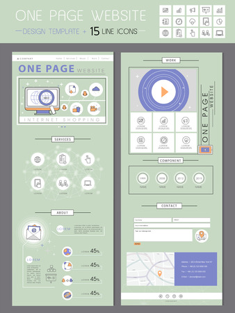 website design: fresh one page website design template in flat style