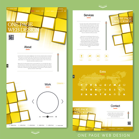 icons site search: trendy one page website design template with paper grid elements Illustration
