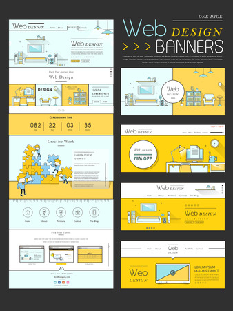 usability: modern one page website design template in flat design Illustration