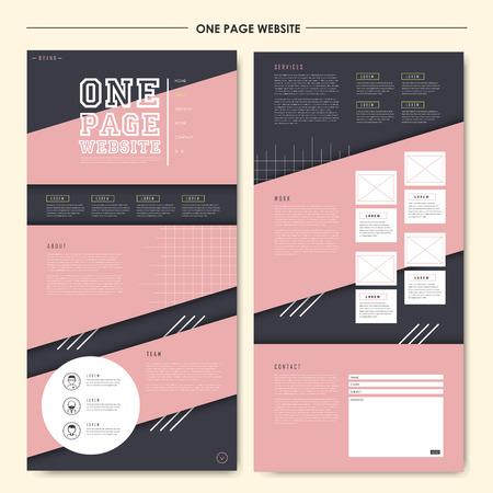 encantadora una página web plantilla de diseño geométrico en estilo plano