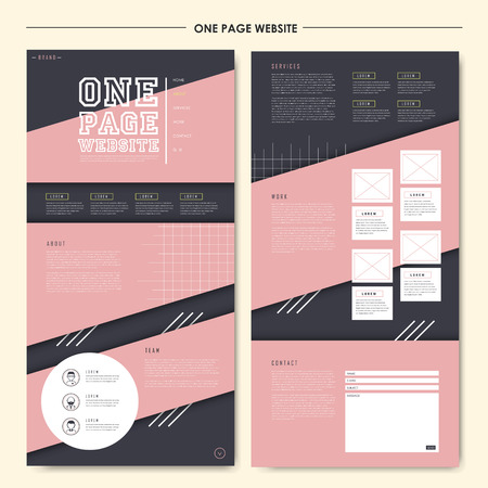 style geometric: lovely geometric one page website design template in flat style