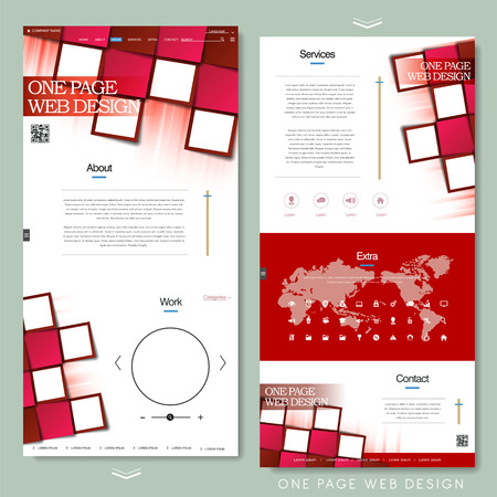 website design: trendy one page website design template with paper grid elements Illustration