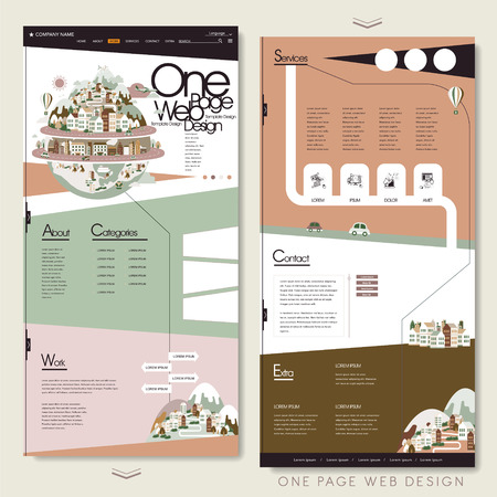 contemporary design: lovely one page website design template in flat style