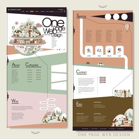 mooie één pagina website ontwerp sjabloon in vlakke stijl Stock Illustratie