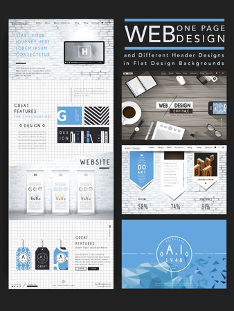 website buttons: modern one page website design template in flat style