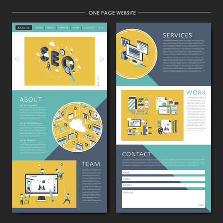 usability: business concept one page website design template in flat style Illustration