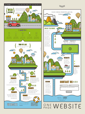 usability: ecology concept one page website design template in flat design