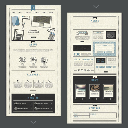 layout template: retro and elegant one page website design template in flat style Illustration