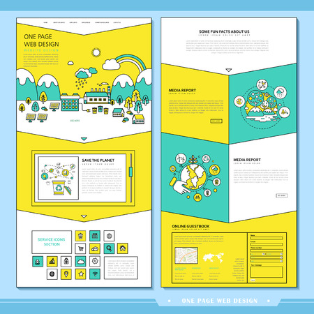 icons site search: lovely one page website design template in flat style