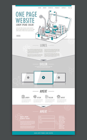 medical one page website design template with first aid kit