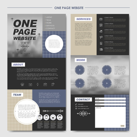 icons site search: modern one page website design template in flat style with blurred banner