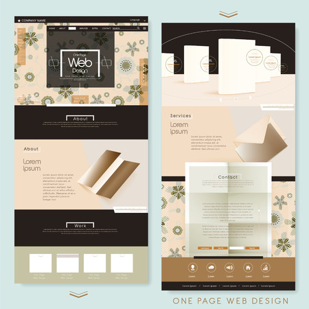 web: graceful one page website design template with blank product Illustration