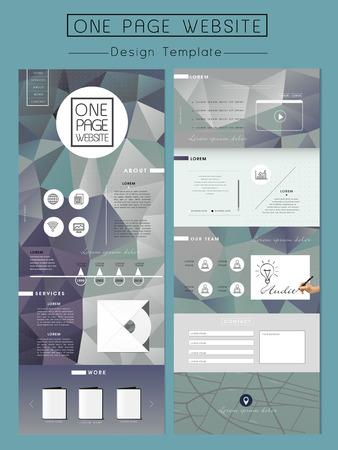geometrische één pagina website ontwerp sjabloon met poly element Stock Illustratie